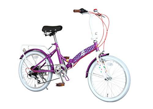Jelly Belly(ジェリーベリー) 折りたたみ自転車 20インチ 6段変速付 TJB-206FD パープル/ホワイト 20型