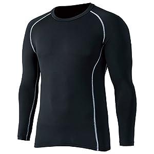 おたふく手袋 ボディータフネス 保温 コンプレッション パワーストレッチ 長袖 クルーネックシャツ (ブラック/迷彩) S~3L