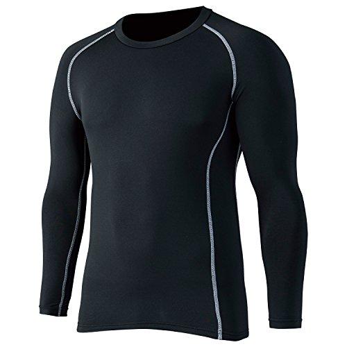 おたふく手袋 ボディータフネス 保温 コンプレッション パワーストレッチ 長袖 クルーネックシャツ (ブラック 迷彩) S~3L
