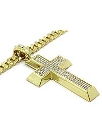 14 KゴールドメッキヒップホップハイファッションIced Out k9クロスペンダントW / 10 mm 30