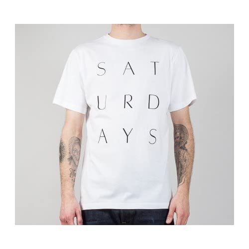 SATURDAYS SURF NYC THIN STACK T サタデーズ サーフ スタックティ(WHITE/BLACK) (S, WHITE)