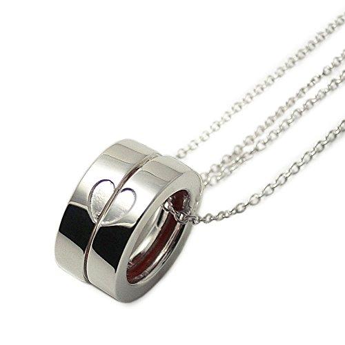 ラブオブディスティニー[LOVE of DESTINY] ペアネックレス シルバー 赤い本物の糸 合わせるとハート LODN-033P