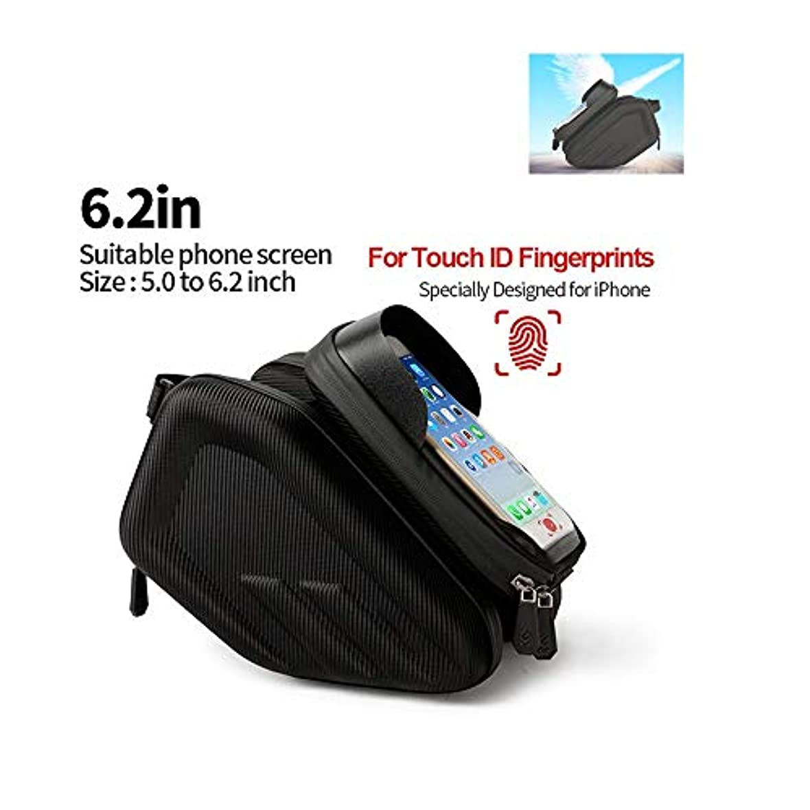 オフ層シネマ防水自転車バッグ、6.2インチのタッチスクリーン、フレームフロントヘッドチューブ自転車バッグ