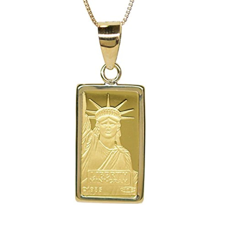 リバティコイン K24(純金) 1g リバティコイン 自由の女神 K18枠付きペンダントトップ