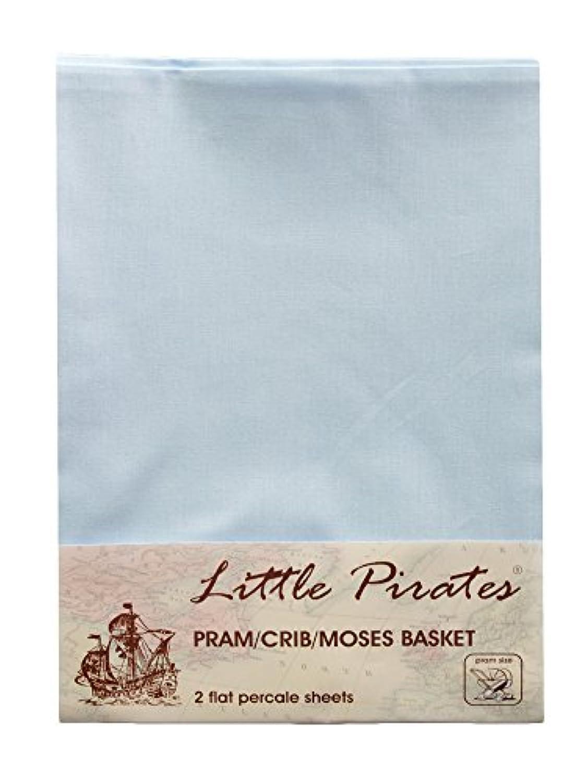 Baby Pram/Stroller/Bassinet/Cradle/ Moses Basket Blue Flat Sheet, 100% Luxury Brushed Cotton ... by Little Pirates