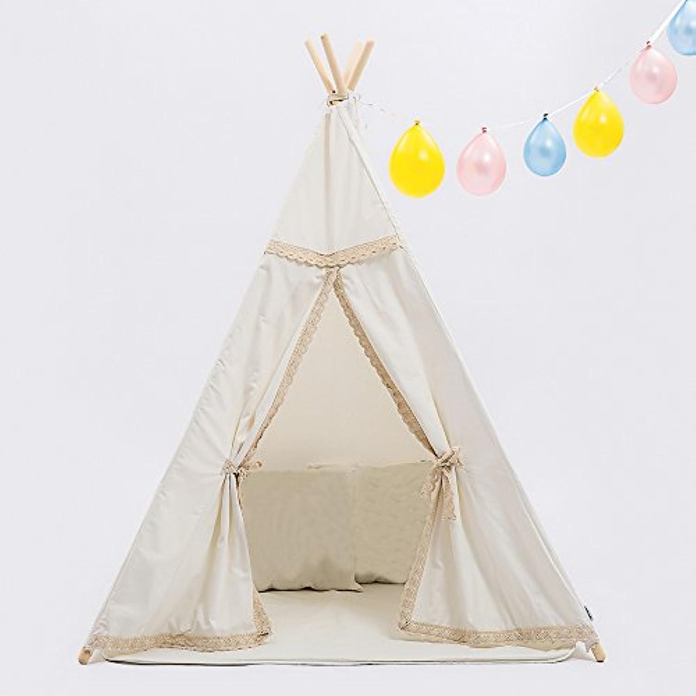 Kids Teepee再生テント通気性- 100 %コットンキャンバス子供の屋内と屋外の使用