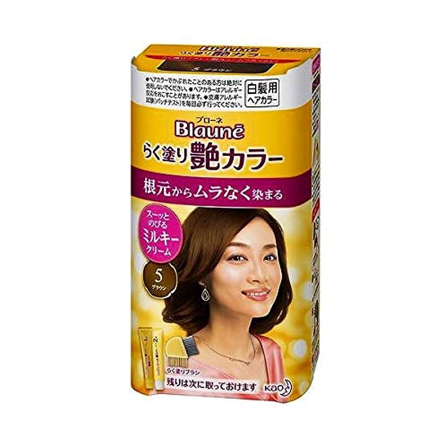 スカーフ中級職業【花王】ブローネ らく塗り艶カラー 5 ブラウン 100g ×3個セット