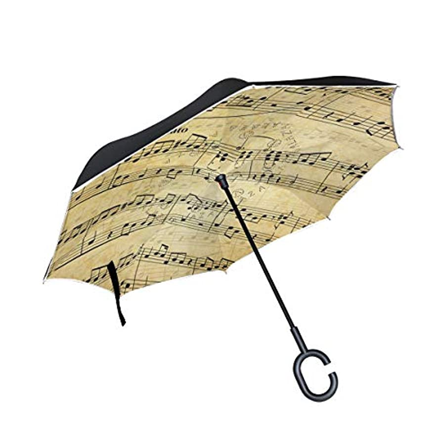 セクタ南極食用逆さ傘 逆傘 長傘 日傘 逆折り式傘 晴雨兼用 梅雨対策 UVカット 耐強風 C型 二重構造 車用 (音符柄 ピアノ柄 音楽柄 ベージュ)