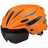 Osize リムーバブルゴーグル付きサイクルバイクヘルメットバイクレーシングヘルメット調節可能な大人の安全保護ヘルメット(オレンジ)