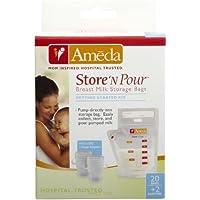 Ameda Store'N Pour Milk Storage Bags + 2 Adapters - 20 ct by Ameda [並行輸入品]