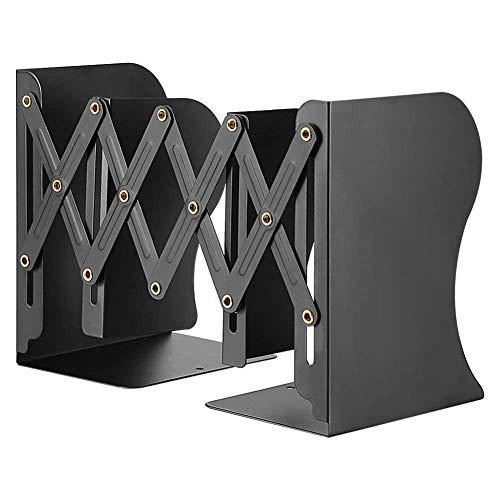 ブックスタンド 折り畳み式 ブックエンド 金属製 自由に伸縮 本棚 卓上収納 雑誌/書類/新聞/ファイル オフィス 事務用品 本立て 仕切りスタンド (ブラック)
