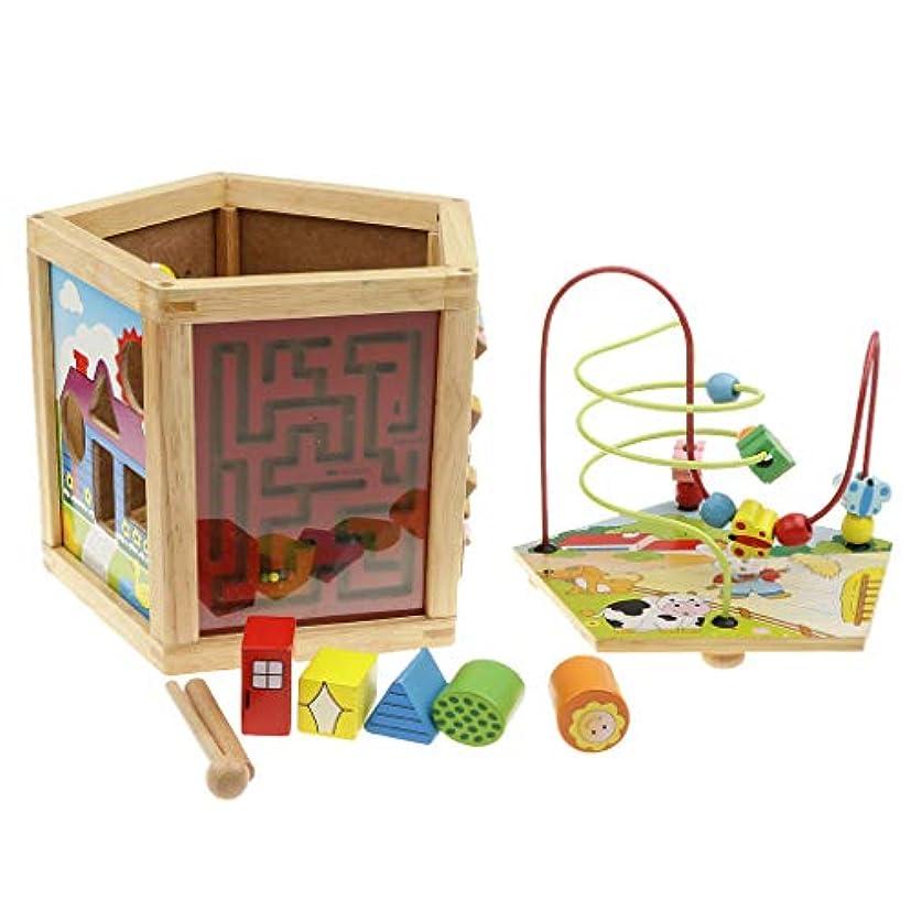 背景部門新しい意味B Baosity 5側面 木製 ビーズ迷路キューブ 活動センター 子供 早期教育おもちゃ