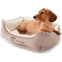 【犬 猫 ペット ベッド】 Four Legs スクエアベッド (S, ヘリンボーンブラウン)