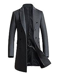 APTRO(アプトロ) コートメンズ チェスターコート ウール アウター pコート ダブルブレスト ロングコート 男性コート 1721グレー L(日本サイズMに相当)