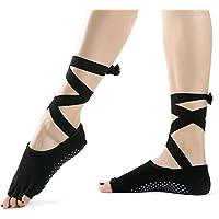 Yoga Socks - Non Slip Skid Toeless Grip Socks with Silk Ribbon for Women & Girl Black Barre Pilates Exercise Half Toe Low Cut Cotton Ankle Socks