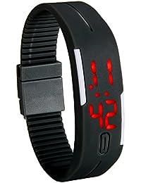 Lancardo 腕時計 デジタル 防水 スポーツウォッチ 腕時計 キッズ LED アラーム カレンダー 12/24時刻切替え シリコンパッド調節可能 ブラック