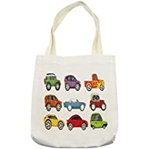 Lunarable Boy's Room Tote Bag, Race Cars Monster Truck Classics Urban Jeep Artistic Speed Automobiles Print, Cloth Linen Reusable Bag Shopping Groceries Books Beach Travel & More, Cream