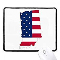 米国イリノイ州地図星とストライプの旗の形 ノンスリップパッドゲームオフィスブラックtitchedエッジの贈り物