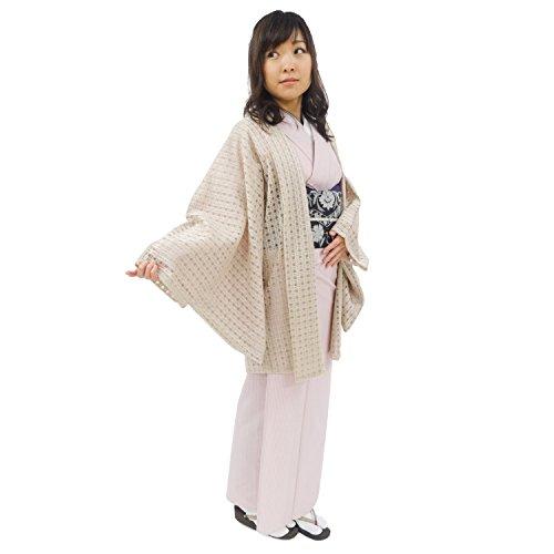 おとづき商店 着物 カーディガン 生成り色×格子柄・チェック 日本唯一 和装コート メーカーの国内仕立て 気楽に羽織れる 和装 きもの カーディガン レディース