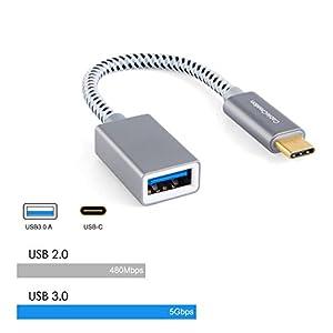 CableCreation USB Type C ケーブル USB タイプC(オス) to USB 3.0 A(メス) 変換アダプタ【USB-C OTG機能】新しいMacBook及びその他のType C端子搭載のデバイスに対応 スペースグレー 0.15m