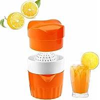 selaurelポータブルジューサーHand Juicer Citrusオレンジレモンレモン絞り器手動回転押し蓋Reamer、ライムグレープフルーツ用Strainer、コンテナ、ジュース押し オレンジ