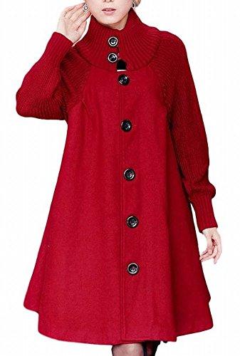 (ヴォンヴァーグ) ventvagueあったか ニット Aライン アウター ロング コート 赤 灰 黒 M L XL レディース (02.L, レッド)