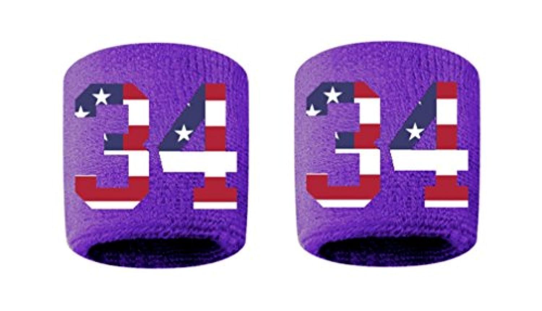 # 34刺繍/ステッチ汗止めバンドリストバンドパープルSweat Band w / USAアメリカ国旗数( 2パック)