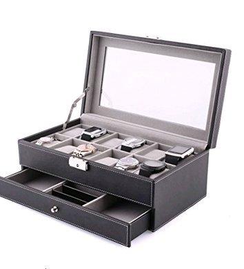 Amzdeal 腕時計収納ケース 腕時計ケース コレクション用 腕時計コレクションケース 腕時計 ウォッチ アクセサリ 旅行 出張 高級ケース 2段式 12本用