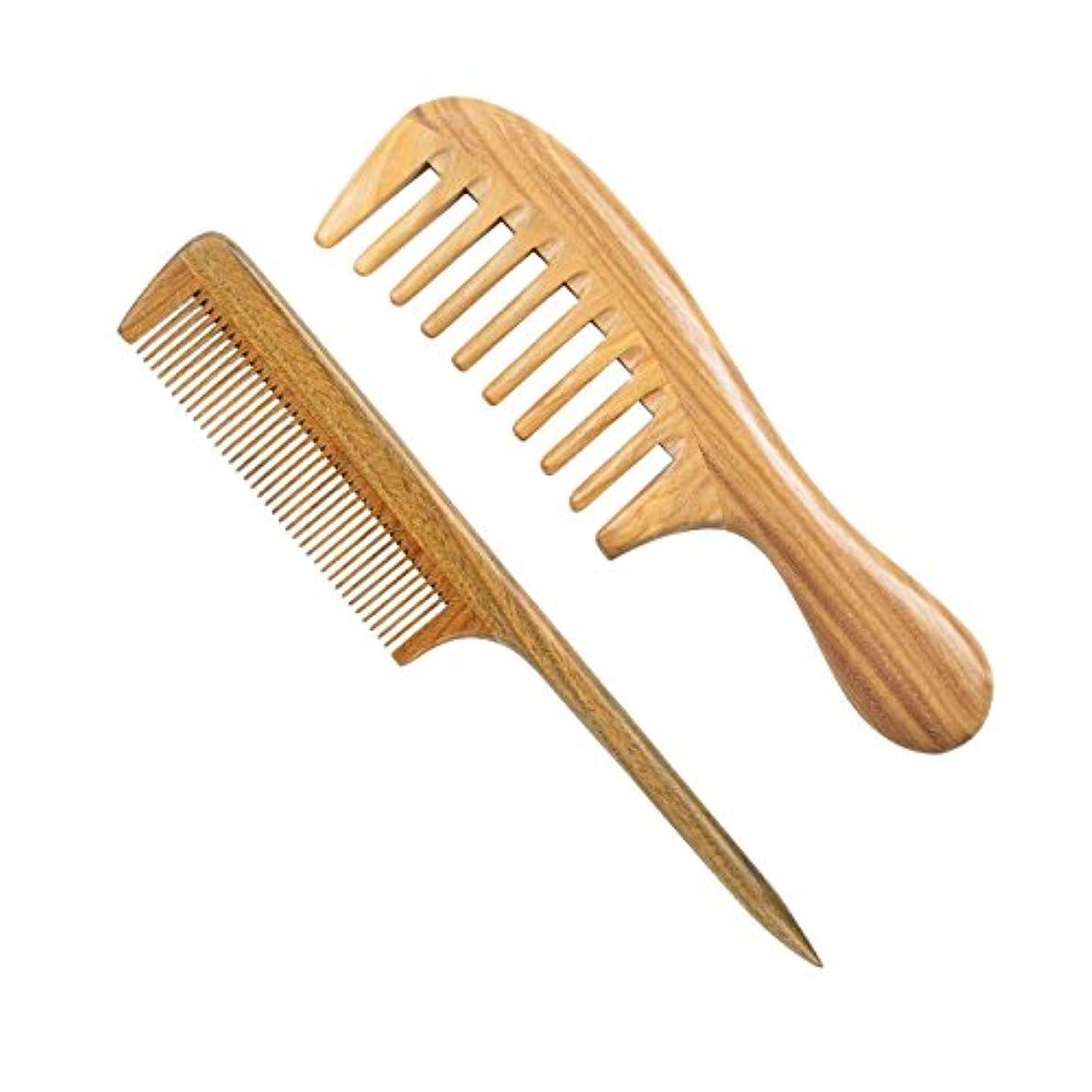 磁石カンガルーリル広い歯の木製の櫛と木製の尾の櫛細かい歯の木の櫛、100%ナチュラルグリーンサンダルウッドアンチスタティックデタングリングホーンの櫛女性、男性と女の子、厚く、