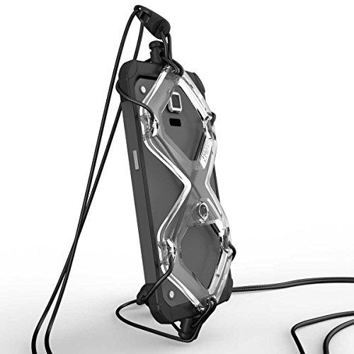 XPORTER EX スポーツ用ストラップ・ホルダー for スマートフォン with センターカメラ ランニング・ジョギング・サイクリングに最適 (クリア&ブラック)