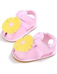 Tokuonn ベビーサンダル 子供シューズ 女の子 子供用 ファースト靴 花飾り 履き心地いい 滑り止め お出かけ 出産 お祝い