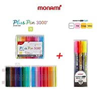 [Monami] [水性ペン0.4mm,モナミ Monami Plus Pen 3000 筆記用、0.4mm (36 colors)/ Essenti Stick Soft Highlighter 3 Colors(ピンク,オレンジ,イエロー),(BUNDLE)]