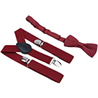 Adjustable and Elasticated With Metal Clips Polyester Kids Design Suspenders and Bowtie Bow Tie Set Matching Ties Outfits