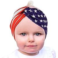 カチューシャAnkolaアメリカ国旗印刷新生児赤ちゃん女の子4th of Julyスターストライプ花伸縮性ヘッドバンド