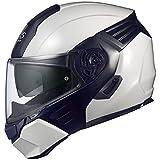 オージーケーカブト(OGK KABUTO)バイクヘルメット システム KAZAMI ホワイトメタリック/ブラックKAZAMI L (頭囲 59cm~60cm)