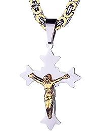 mecooサージカルスチールJesusゴールドシルバーキリスト十字架ペンダントチェーン22