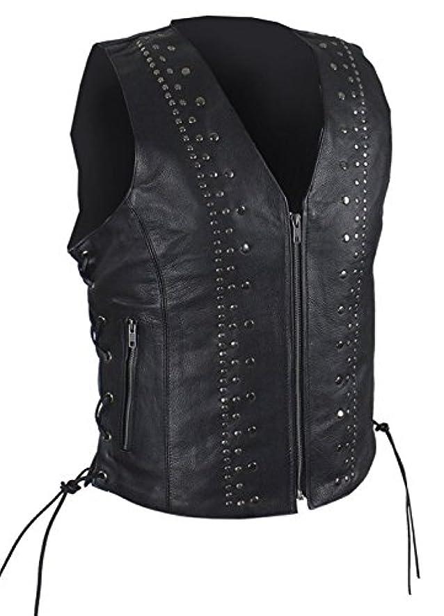 学期通信網幻滅レディースレザーMotorcycle Vest With Studs XS-Bust Size - 35 ブラック LV8510-11-VEST-DL-XS