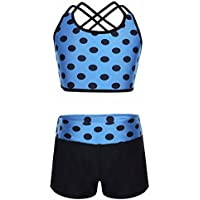 Freebily Girls' Athletic Crop Top with Shorts Set Gymnastics Leotard for Dancewear Activewear Swimwear