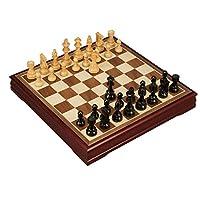 TPXR 国際チェス、大エボニー絶妙な折りたたみチェスセット、ホーム子供/大人競技トレーニングチェス(ブラウン、50 * 50cmの) ( Color : Black , Size : Large )