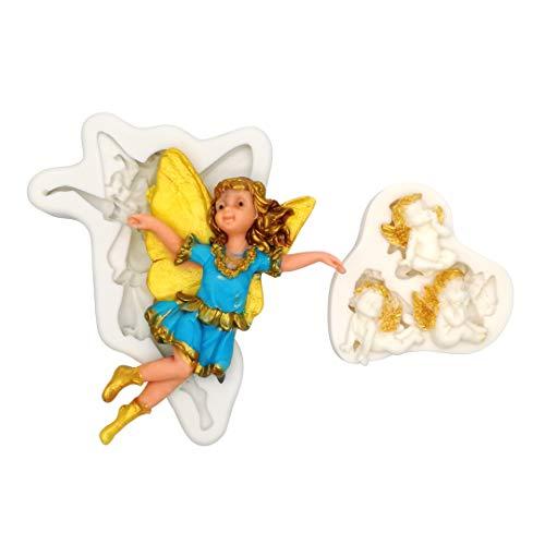 YAWOOYA シリコンエンジェル型 天使の赤ちゃん用チェラブガールズ 羽根付き フォンダン型 ケーキデコレーション用 ベビーシャワー チョコレート キャンディクレイ カップケーキトッパー
