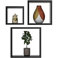 セットof 3木製フローティング棚、正方形壁棚、DIYホーム装飾ベッドルーム、リビングルーム、バスルーム、キッチン、オフィスの壁マウント表示、より