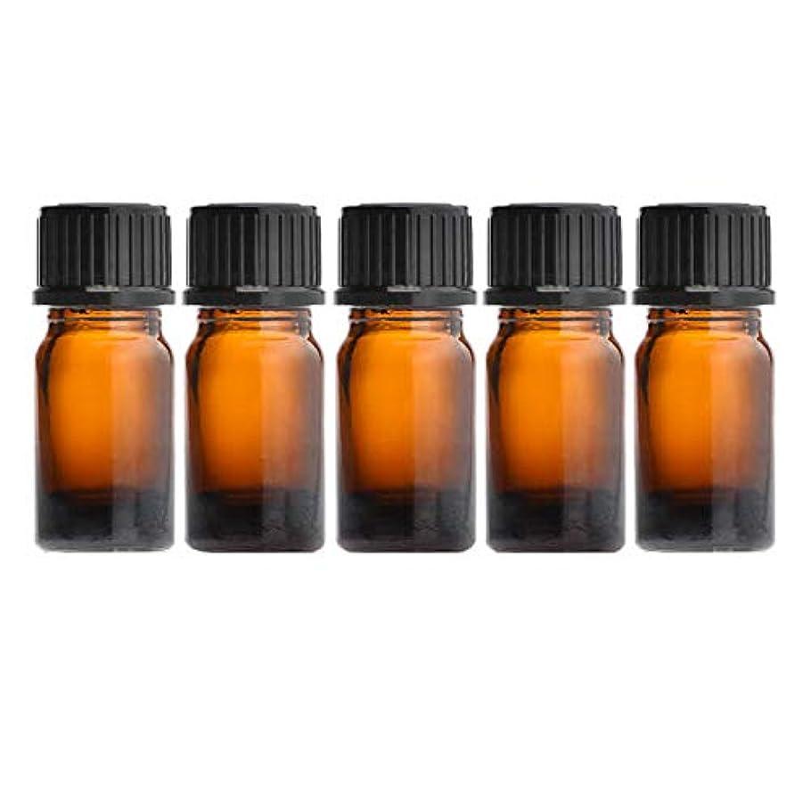 ピグマリオン砂漠選択するNAGOMI AROMA遮光ビン 5ml(アンバー) 5本セット 黒キャップ&ヴァーティカルドロッパー
