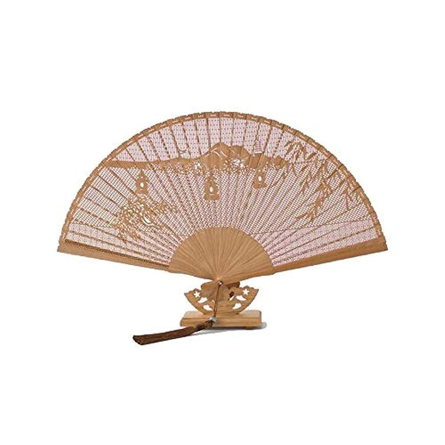 イブ最大の少年QIANZICAI 扇子、ファン、ホームアクセサリー、ダンスの小道具、サイズ23CMカービングクラシック竹。 ファン (Color : Brown- B)