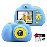 """Kids Camera Gifts for 3-9 Year Old Girls,1080P HD Mini Rechargeable Children Shockproof Digital Front and Rear Selfie Camera Child Camcorder Waterproof 2.0"""" LCD Screen"""