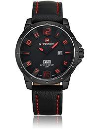NAVIFORCE軍事アナログクォーツレザーストラップメンズは、腕時計、30M防水スポーツ腕時計 - レッド