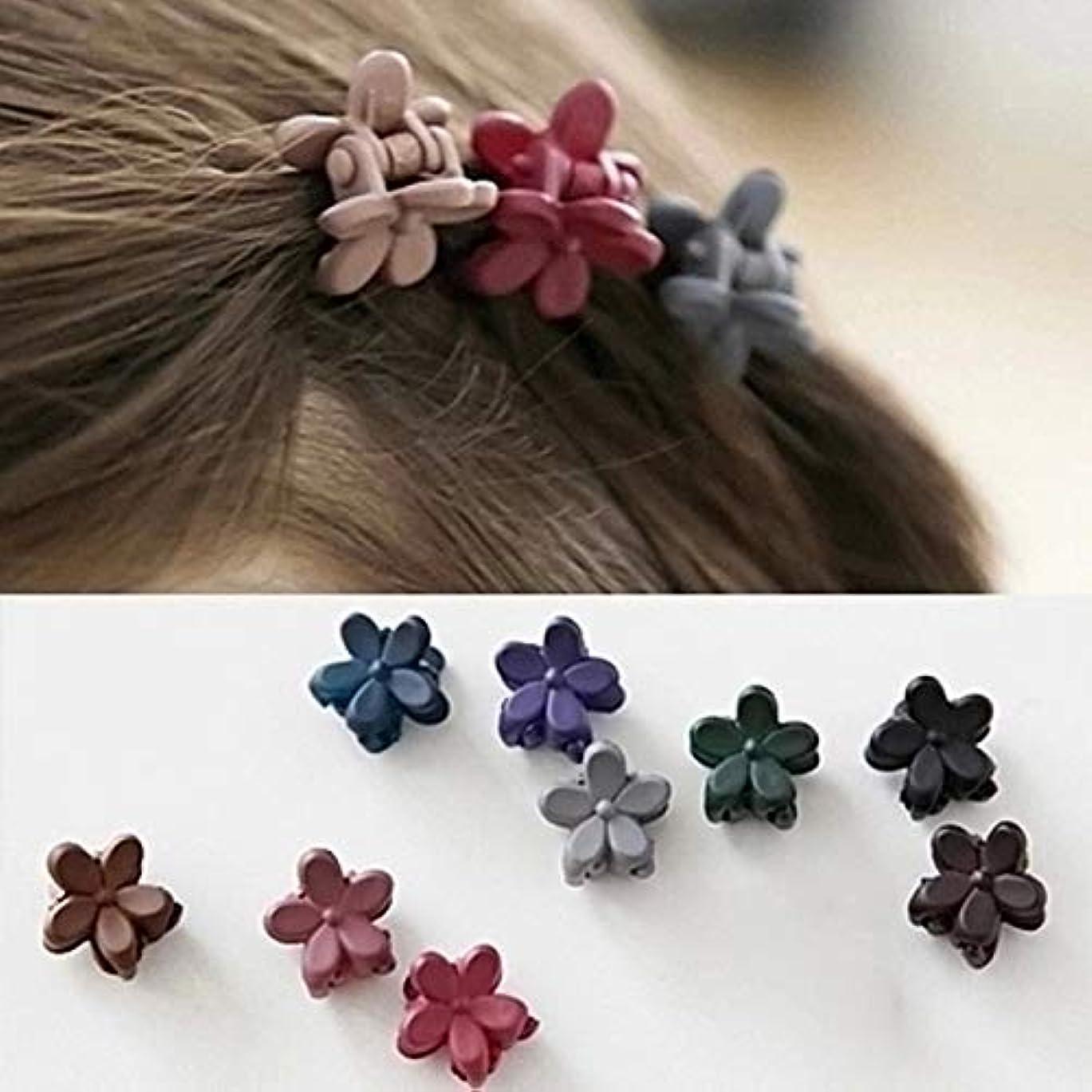 感謝祭重なる洗練Hairpinheair ランダムカラー配達のYHM 50個の女の子のかわいいスクラブフラワーミニヘアピン