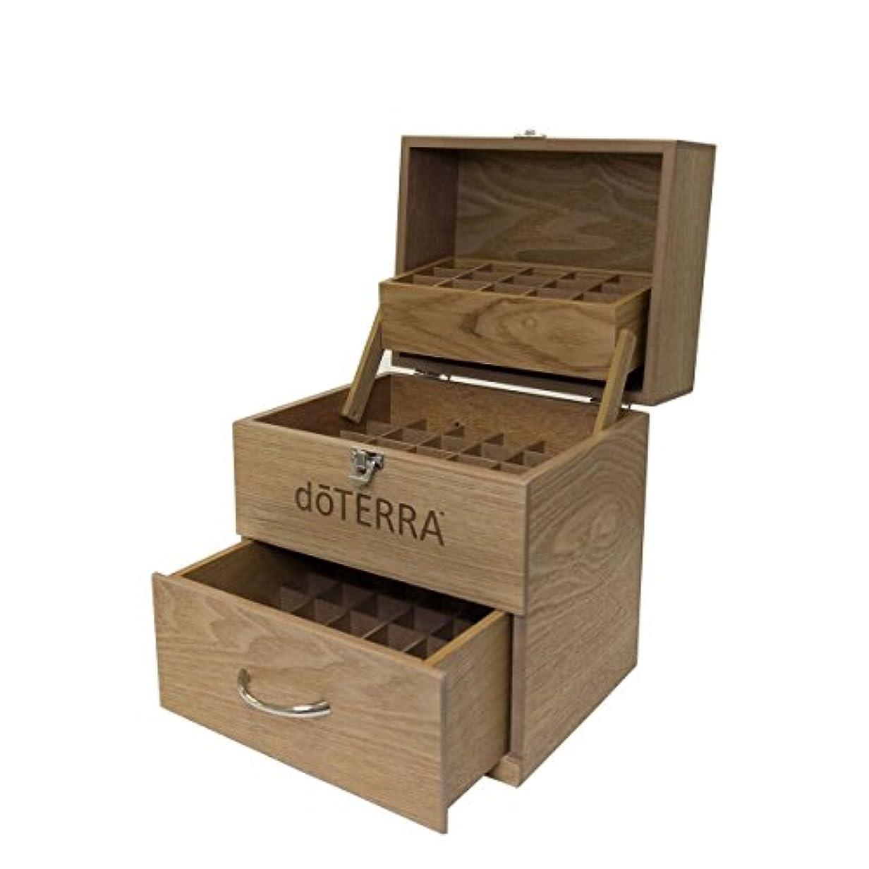 宗教絞る地図(ドテラ) doTERRA ウッドボックス ライトブラウン 窓付き 木箱 エッセンシャルオイル 精油 整理箱 3段ボックス 75本