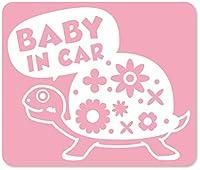 imoninn BABY in car ステッカー 【マグネットタイプ】 No.53 カメさん (ピンク色)