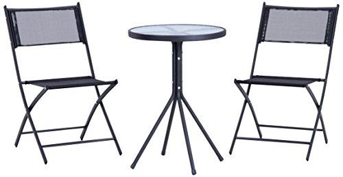 RoomClip商品情報 - 不二貿易 ベランダ3点セット テーブル×1 チェア×2 ブラック 94403