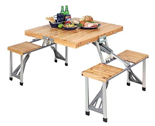 キャプテンスタッグ(CAPTAIN STAG) キャンプ バーベキュー用 机 NEWシダー 杉製ピクニックテーブル